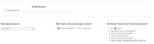 Einstellungen für Designs