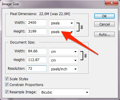 how to adjust an image resolution to set paper size